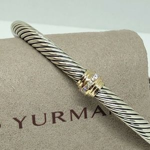 David Yurman Gold Diamond Single Station 5mm Cuff